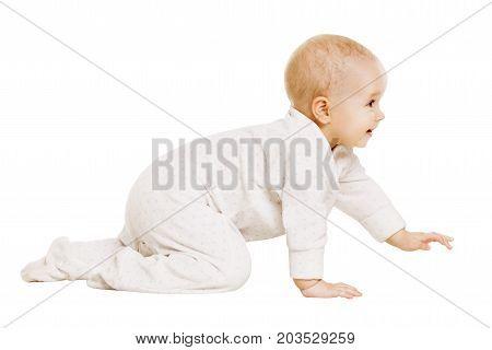 Baby Crawling Happy Infant Child Crawl Isolated White Background Girl one year old