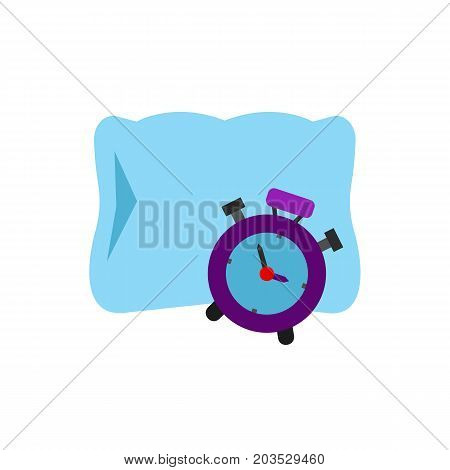 Vector icon of alarm clock and pillow. Morning, bedtime, awakening. Sleeping concept. Can be used for topics likehealth, daily routine, rest