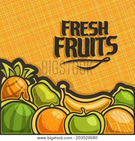 Vector poster for set Fresh Fruits with copy space: cover with summer fruit mix on texture pattern, layout with original font for text fresh fruits with yellow geometric background for grocery shop.