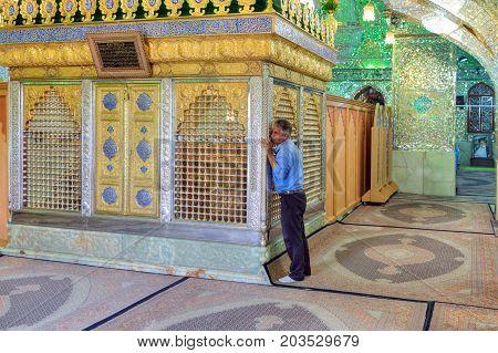 Fars Province Shiraz Iran - 18 april 2017: Mirrored mausoleum in Sayyed Alaeddin Hossein Mosque muslim worship tomb.