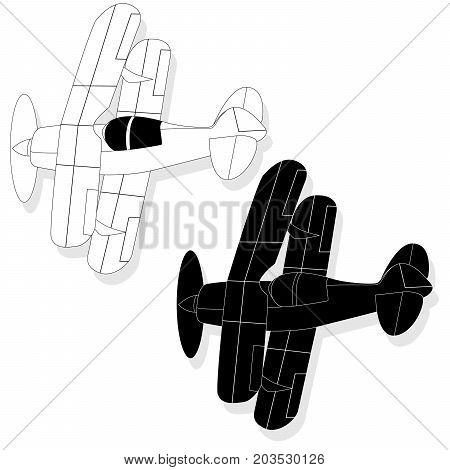 A Bi Plane Isolated On. Vector  Illustration.