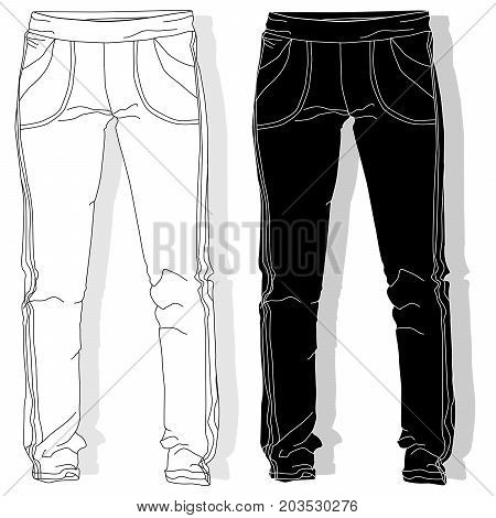 Sport trousers / pants isolated set .