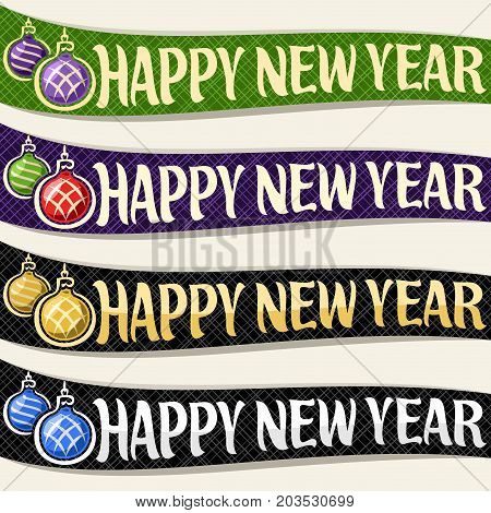 Vector set of ribbons for New Year holiday: 4 curved banners with hanging xmas baubles on dark geometric background, calligraphy handwritten font for greeting text happy new year, christmas decoration