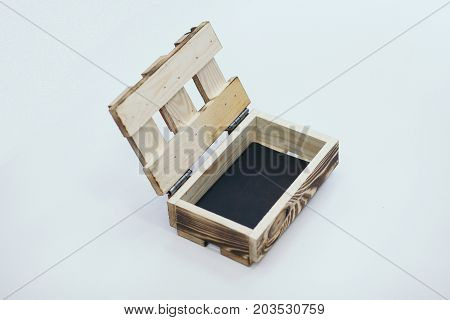 Wooden crate on white background isolated. Good