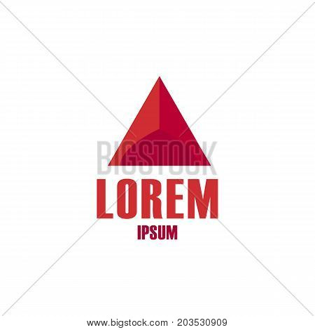 Maroon red triangle 3d logo element vector design shape template icon symbol abstract.