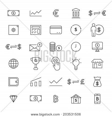 Finance line icons for business. Line icons for user interfaces and web