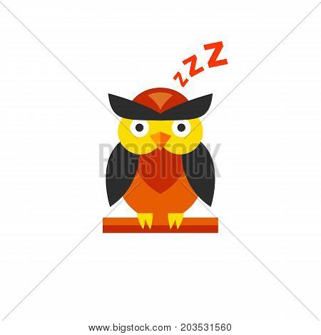 Vector icon of sleeping owl. Bedtime, night, sleep mode. Sleeping concept. Can be used for topics like wildlife, birds, rest