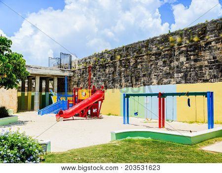 A colorful playground in sand at the old Naval Dockyards in Bermuda