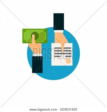 Vector icon of hands exchanging document for money. Tax refund, bribing, financial check. Taxation concept. Can be used for topics like business, banking, finance