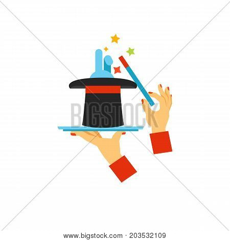 Icon of hands holding digital tablet, top hat and wand. Web tricks, magic trick, illusion show. Illusionist tricks concept. Can be used for topics like entertainment, performance, circus