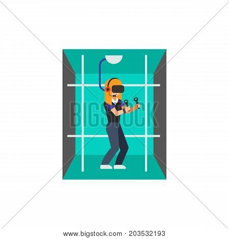 Vector icon of woman playing in virtual reality room. Simulation, gaming, entertainment. Virtual reality concept. Can be used for topics like technology, innovation, leisure
