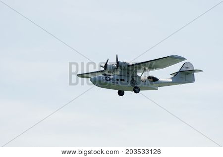 Clacton Essex United Kingdom -25 August 2017: Catalina seaplane in World War II U.S. Navy colors with sky in background