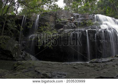 Deep forest waterfall at pang sida waterfall National Park sa kaeo Thailand