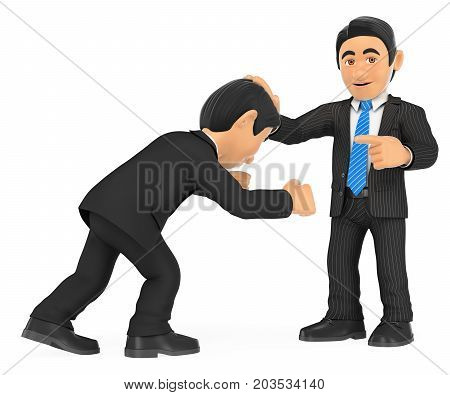 3d business people illustration. Businessman holding head with hand to other. Superiority. Isolated white background.