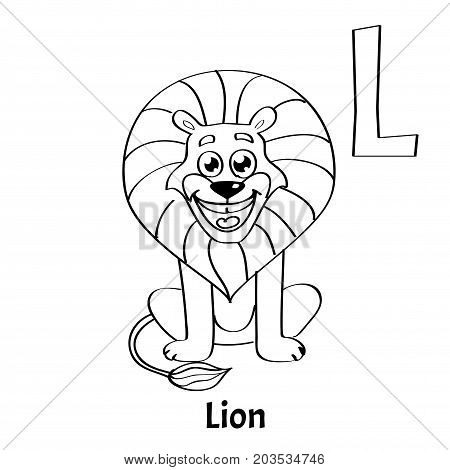 Vector alphabet letter L for children education with funny cartoon lion. Isolated. Learn to read. Coloring page.