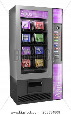 3d illustration. 3D App Vending Machine. Isolated white background.