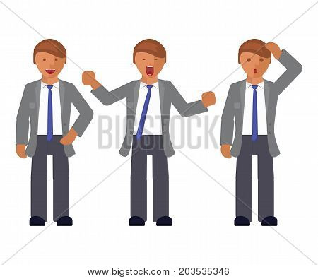 Set of man expression. Character creation. Full length and different face and body emotion portraits on white background. Build your own design. Vector illustration eps 10