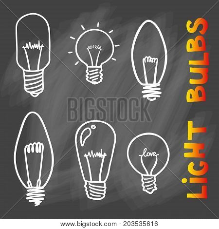 Light bulbs icon. Concept of big ideas inspiration, innovation, invention, effective thinking. CFL lamp.  Isolated. Vector illustration.  Idea symbol. sketch. Sign. On chalk background