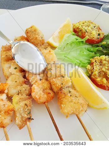 Fish Skewers With Shrimp And Swordfish Baked In The Oven