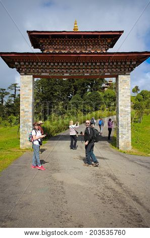 Thimphu, Bhutan - September 10, 2016: Tourists Near Druk Wangyal Lhakhang Temple, Dochula Pass, Bhut