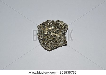 Pyrite , Fools Gold on a white background