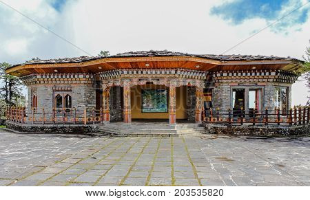 Thimphu, Bhutan - September 10, 2016: Traditional Bhutanese Temple Architecture In Bhutan, South Asi