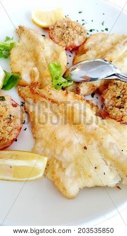 a dishw tih grilled fish fillets with tomatos