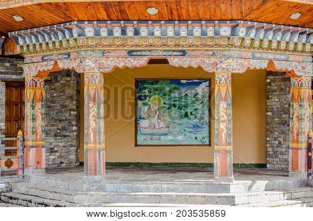 Thimphu Bhutan - September 10 2016: Traditional Bhutanese temple architecture in Bhutan South Asia. View of the beautiful entrance of the temple.