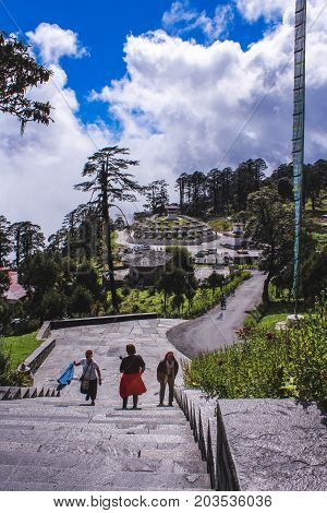 Thimphu, Bhutan - September 10, 2016: Druk Wangyal Khangzang Stupa With 108 Chortens, Dochula Pass,