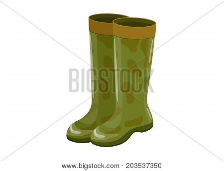 Rubber boots isolated icon in cartoon style, camouflage ammunition vector illustration