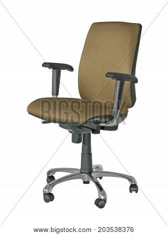 A BROWN OFFICE SWIVEL CHAIR, WITH AN ISOLATED BACK GROUND