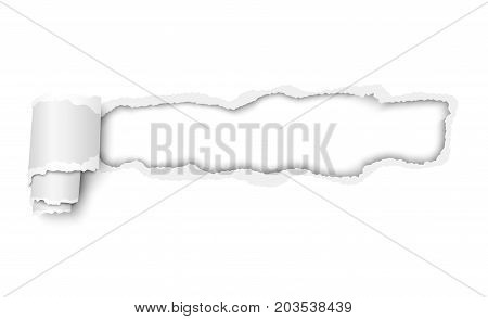Vector lacerated hole in piece of white paper with torn edges and curl with space for text, copy or ad. Template paper design.