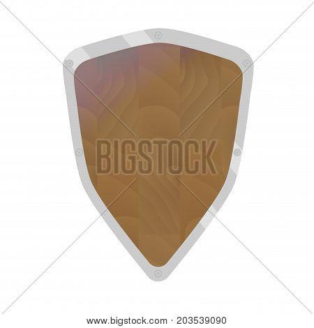 Cartoon shield vector. Knight shield and illustration of wood sheild