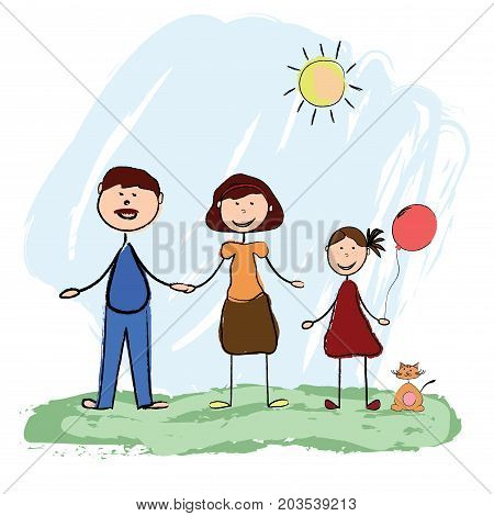 Happy friendly family with a small kitten. Vector drawing