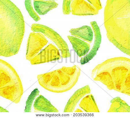 watercolor seamless pattern with lemons isolated on white background