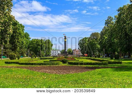 POLTAVA, UKRAINE - May 15, 2017: The corpus garden is the central park of Poltava, laid in the first half of the 19th century around the Monument of Glory