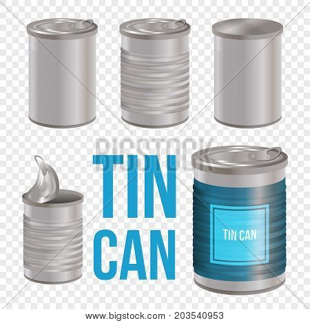 Tincan, canned food realistic vector package mockup, isolated on white background. Metal Tin Can blank templates for branding. Open and closed