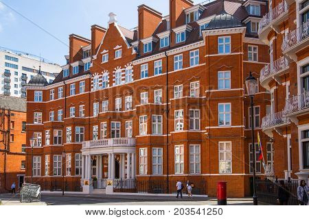 LONDON, UK - 25 August, 2017: Facade of the residential buildings in Kensington, the one of the most expensive places to live in UK
