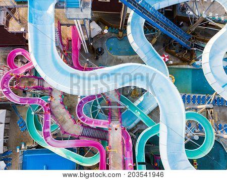 Water Park Slides Aerial