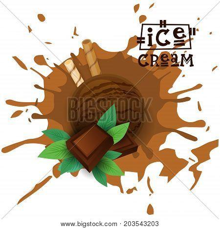 Ice Cream Chocolate Ball Dessert Choose Your Taste Cafe Poster Vector Illustration