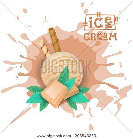 Ice Cream White Chocolate Ball Dessert Choose Your Taste Cafe Poster Vector Illustration