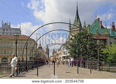 Kosice Slovakia - June 28 2017: people are walking by lovers' Bridge in Kosice Slovakia