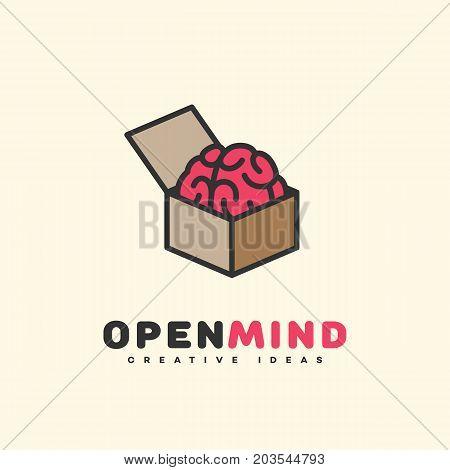 Open mind logo template design. Vector illustration.