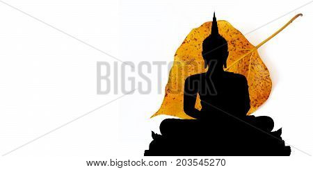 Buddha silhouette or Buddha silhouette with leaf use for Buddhist day
