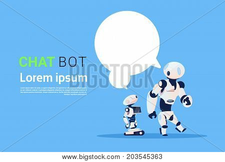 Chat Bot, Robots Virtual Assistance Element Of Website Or Mobile Applications, Artificial Intelligence Concept Flat Vector Illustration