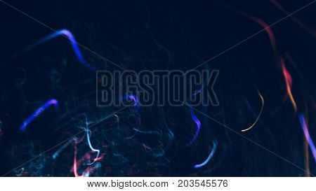 Abstract background of colorful bends in motion on black. Bokeh of defocused curves, blurred neon red and blue leds, festive backdrop of serpentine, holidays and celebrations