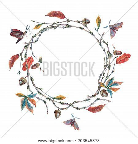 Watercolor forest wreath or garland with sprig, acorns, autumn leaves and moths. Natural vintage watercolor illustration on white  background