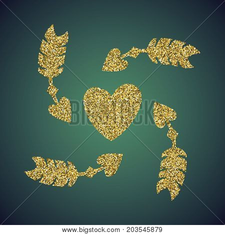 A glamour brilliant jewelry gold glittering hand drawn heart and Cupid arrow symbol. Elegant decoration of love icon. A small scattering gold circles