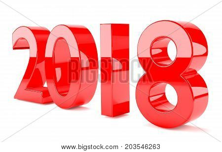 2018 3D Rendering. With red glossy plastic material isolated and in perspective.