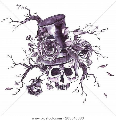 Monochrome watercolor hand drawn skull with horns, dry twigs, fly agarics, roses and vampire hat. Black and white design elements isolated on white background.